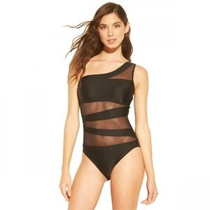 NWT Shade & Shore Mesh Inset Swimsuit Black Small